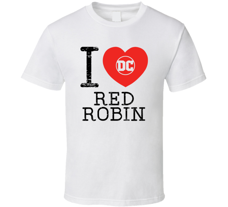 Red Robin I Love Heart Comic Books Super Hero Villain T Shirt