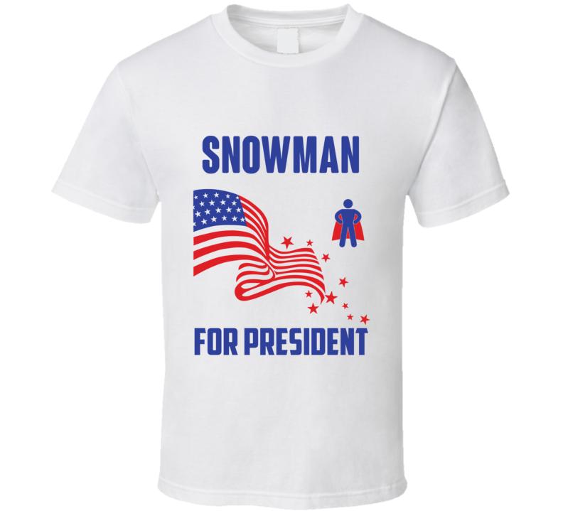Snowman For President Comics Super Hero Villain T Shirt