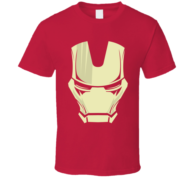 Iron Man Mask Silhouette Comic Marvel Movie Red T Shirt