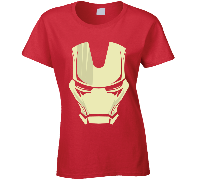 Iron Man Mask Silhouette Comic Marvel Movie Red Ladies T Shirt