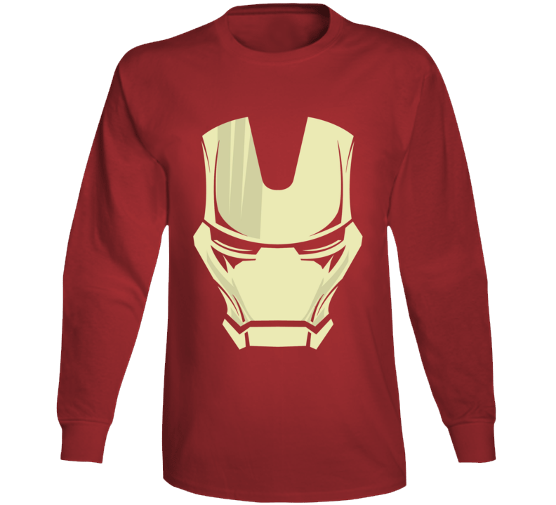 Iron Man Mask Silhouette Comic Marvel Movie Red Long Sleeve