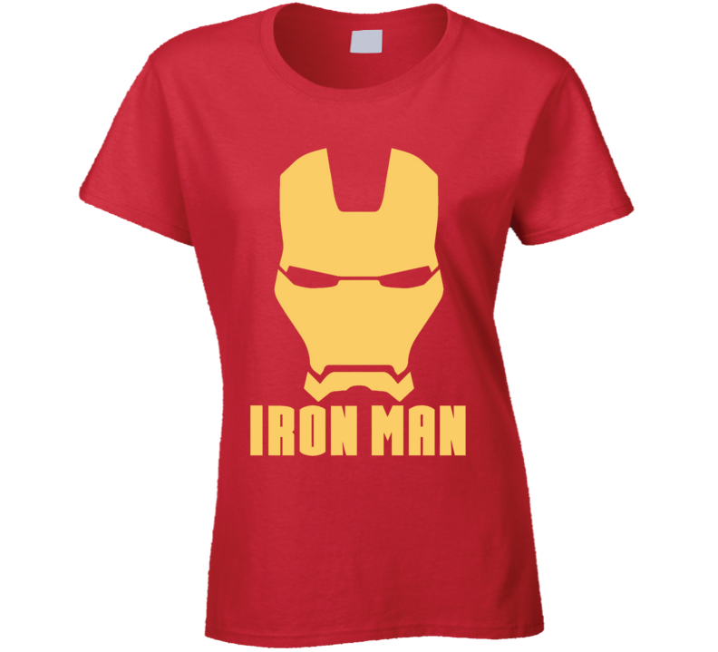 Iron Man Mask Silhouette Logo Comic Marvel Movie Ladies T Shirt