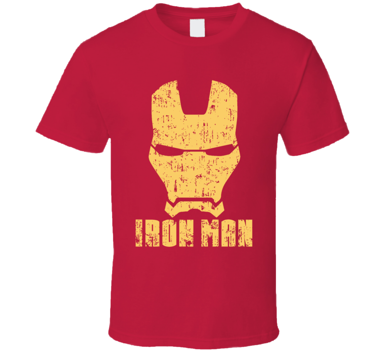 Iron Man Mask Aged Logo Comic Marvel Movie T Shirt