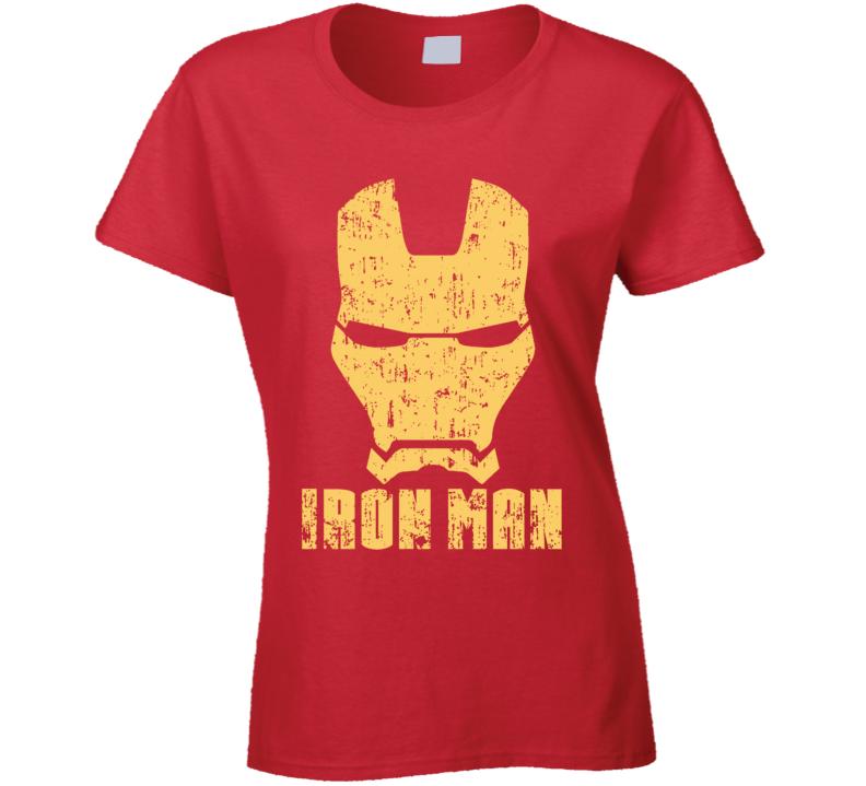 Iron Man Mask Aged Logo Comic Marvel Movie Ladies T Shirt