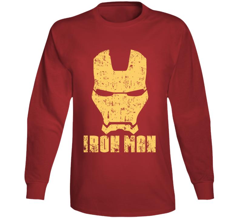 Iron Man Mask Aged Logo Comic Marvel Movie Long Sleeve Long Sleeve