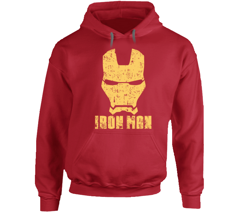 Iron Man Mask Aged Logo Comic Marvel Movie Hoodie