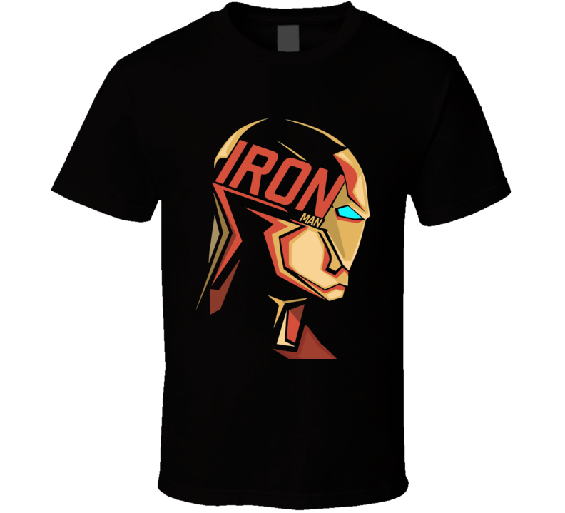 Iron Man Mask Logo Comic Marvel Movie Black T Shirt