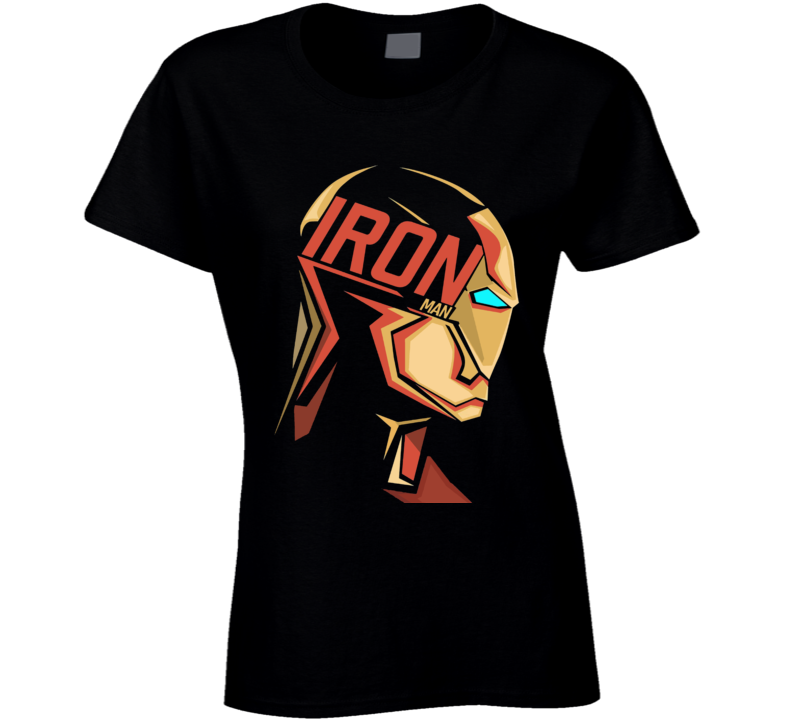 Iron Man Mask Logo Comic Marvel Movie Black Ladies T Shirt