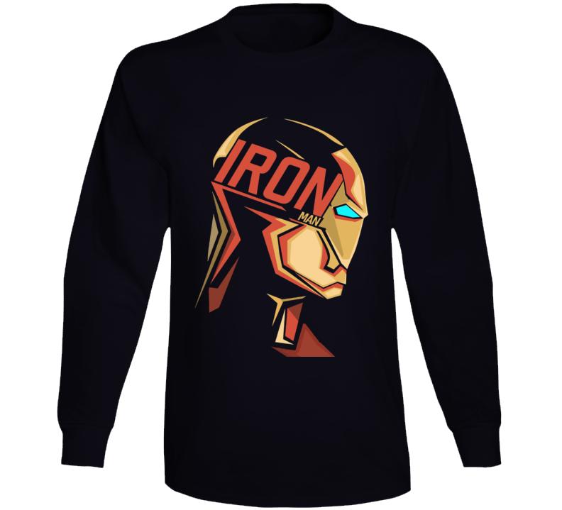 Iron Man Mask Logo Comic Marvel Movie Black Long Sleeve Long Sleeve