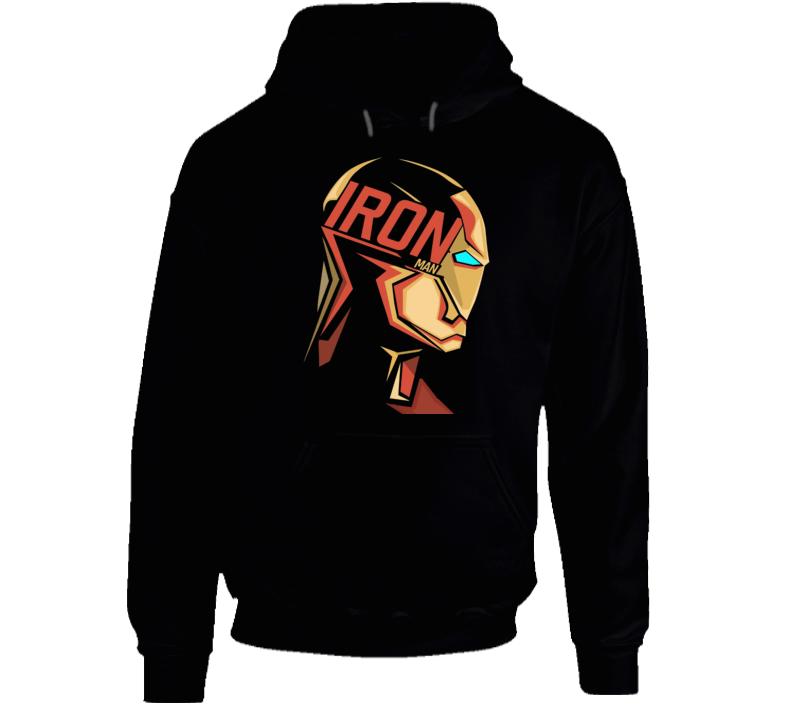 Iron Man Mask Logo Comic Marvel Movie Black Hoodie