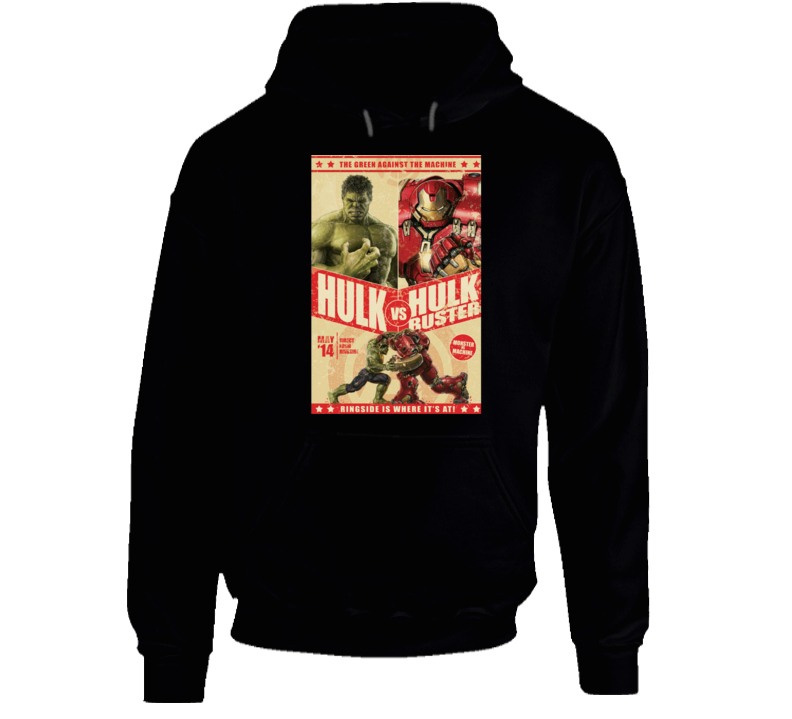 Hulkbuster Hulk Comic Marvel Movie Fight Poster Parody Hoodie