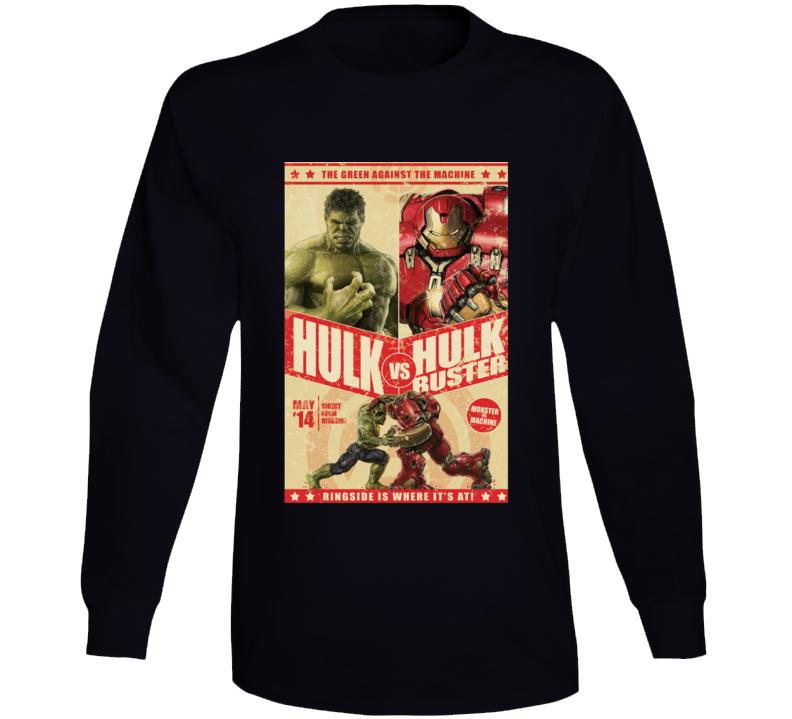 Hulkbuster Hulk Comic Marvel Fight Poster Parody Long Sleeve Long Sleeve