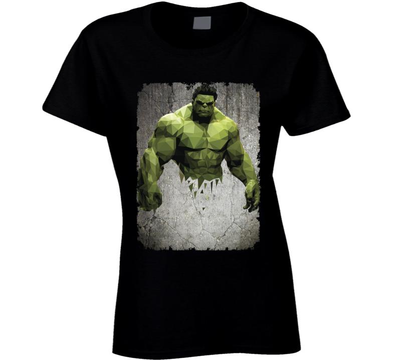 Hulk Geometrics Cool Marvel Movie Image Ladies T Shirt