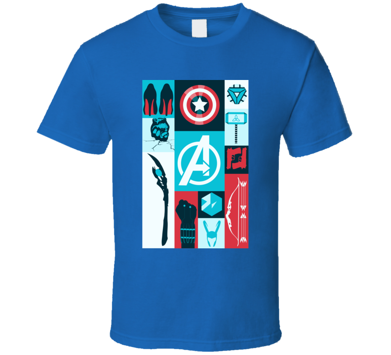 Avengers Symbols Loki Hawkeye Thor Hulk Iron Man Black Widow T Shirt