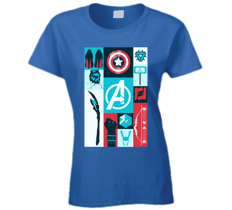 Avengers Symbols Loki Hawkeye Thor Hulk Black Widow Ladies T Shirt