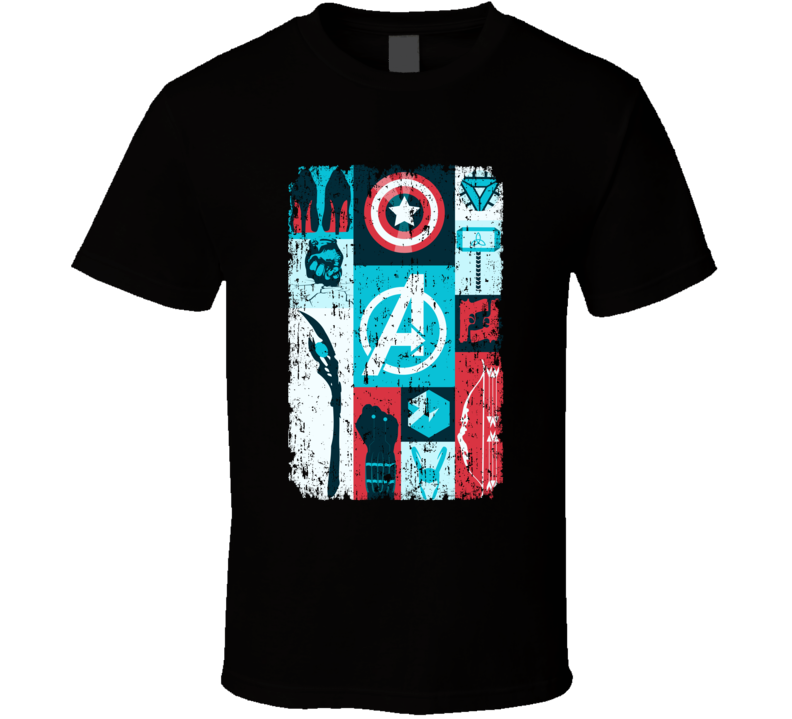 Avengers Symbols Hawkeye Thor Hulk Iron Man Black Widow Loki T Shirt