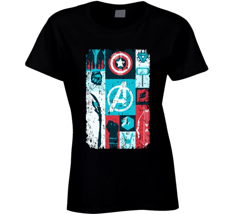 Avengers Symbols Hawkeye Thor Iron Man Black Widow Loki Ladies T Shirt