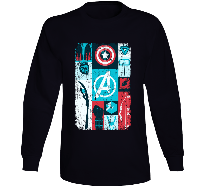 Avengers Symbols Hawkeye Thor Hulk Black Widow Loki Long Sleeve Long Sleeve
