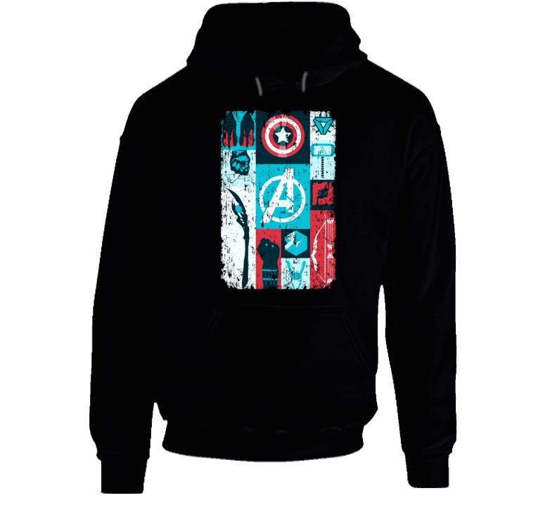 Avengers Symbols Hawkeye Thor Hulk Iron Man Black Widow Loki Hoodie
