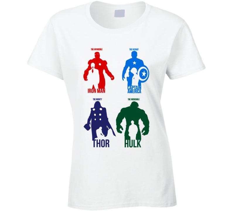 Avengers Silhouettes Iron Man Thor Captain America Hulk Ladies T Shirt