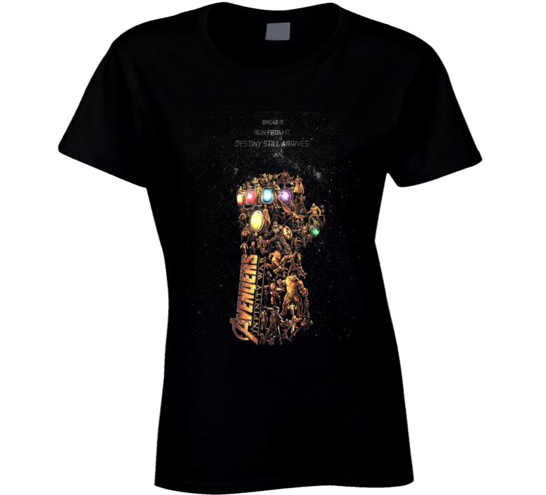 Avengers Infinity Gauntlet Art Thanos Space Black Ladies T Shirt
