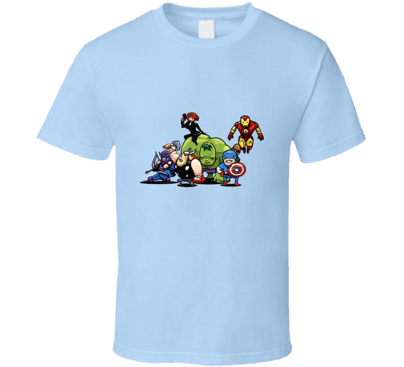Avengers Hulk Thor Hawkeye Black Widow Funny Caricature T Shirt
