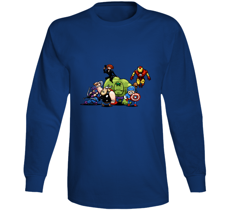 Avengers Hulk Thor Hawkeye Black Widow Funny Caricature Long Sleeve Long Sleeve