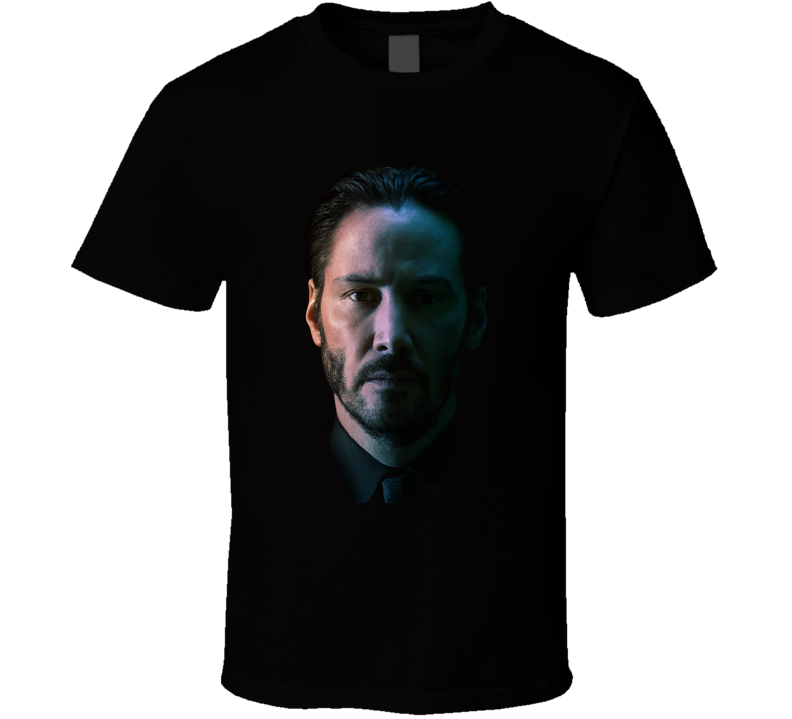 John Wick Face Image Keanu Reeves Cult Movie Black T Shirt