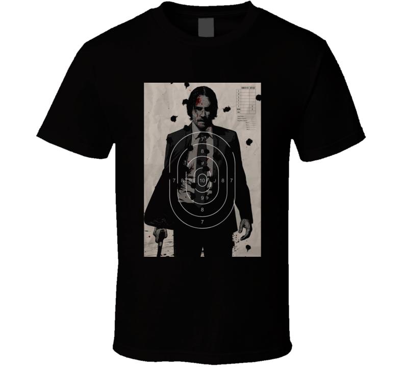 John Wick Keanu Reeves Shooting Target Poster Movie Black T Shirt