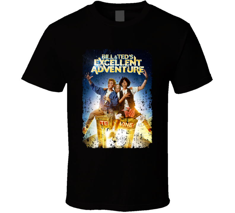 Bill And Teds Excellent Adventure Keanu Reeves Movie Poster Aged T Shirt
