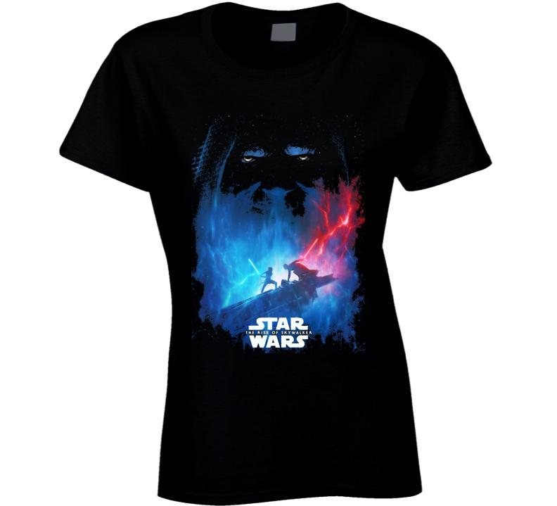 Star Wars Rise Of Skywalker Movie Poster Art Renditon Black Ladies T Shirt