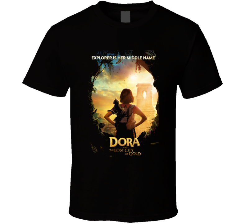 Dora Lost City Of Gold Movie Poster Explorer Black T Shirt