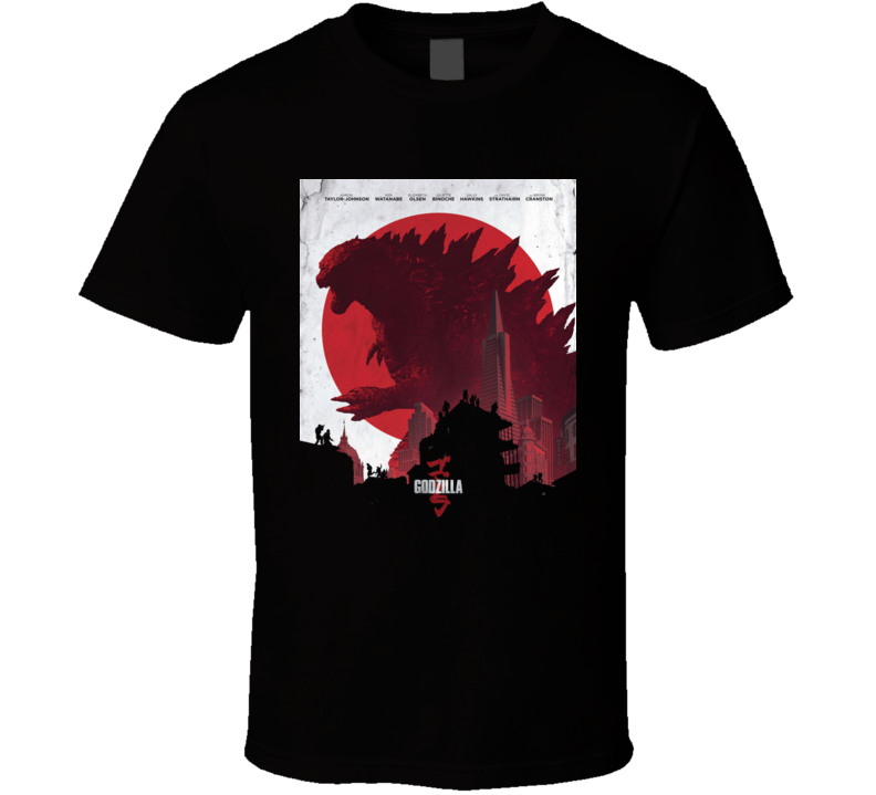 Godzilla Movie Poster King Monsters Japan Black T Shirt