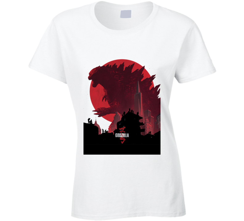 Godzilla Movie Poster King Monsters Japan White Ladies T Shirt