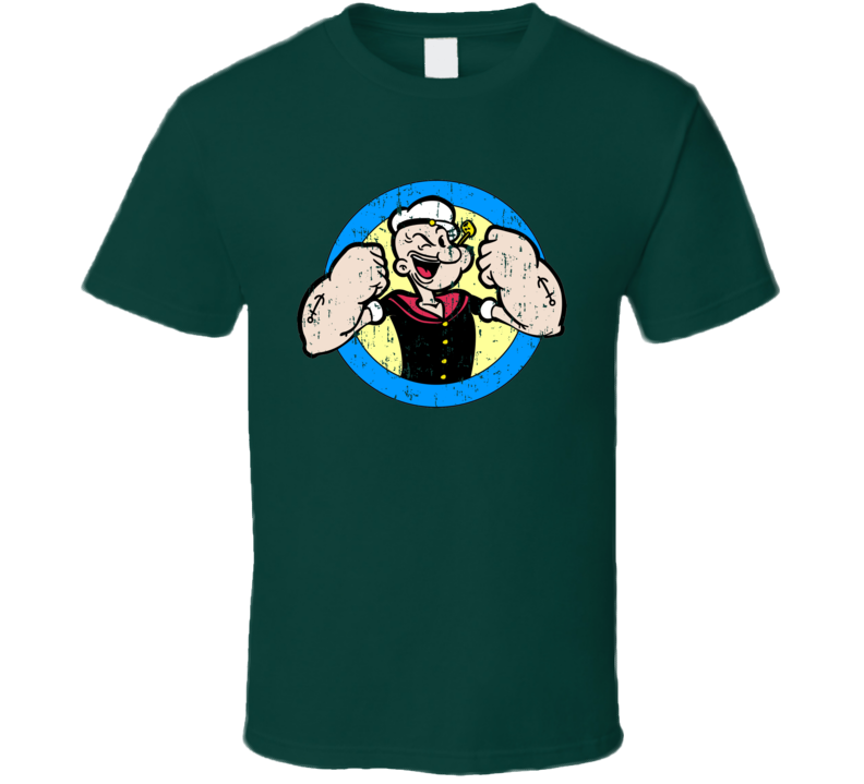 Popeye Sailor Man In Circle Cartoon Comics Distressed T Shirt