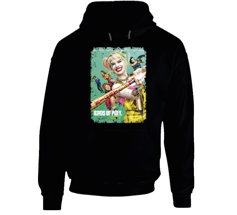 Birds Of Prey Movie Harley Quinn Poster Distressed Hoodie