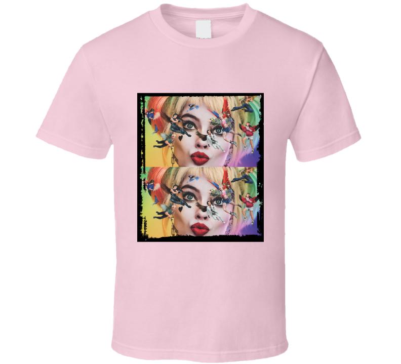 Birds Of Prey Movie Harley Quinn Face Mash Up Border T Shirt