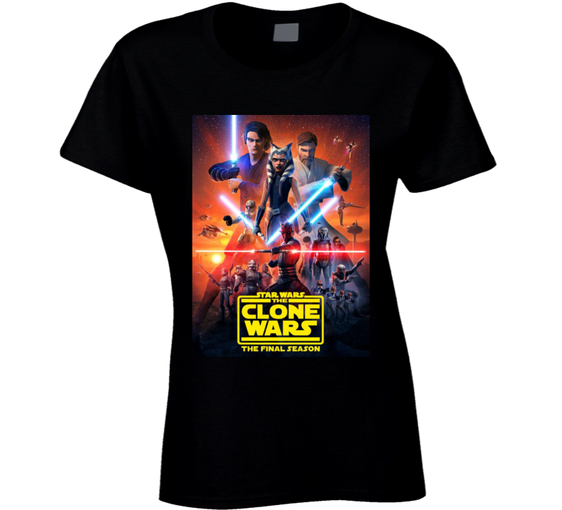 Star Wars Clone Wars Final Season 7 Anakin Ahsoka Tano Maul Ladies T Shirt