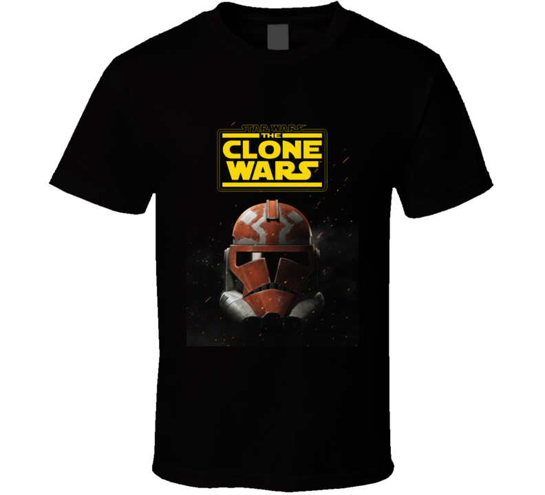 Star Wars Clone Wars Trooper Helmet Final Season Black T Shirt