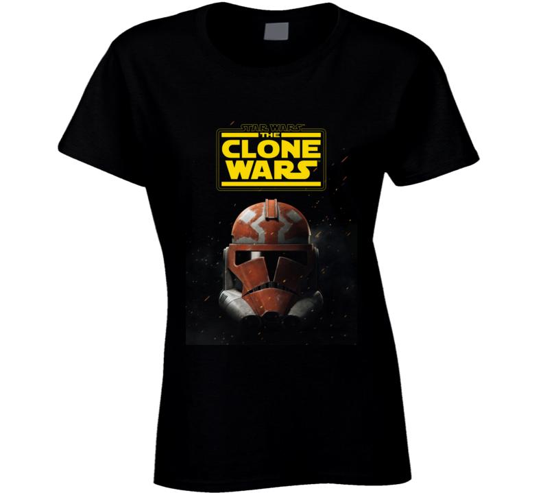 Star Wars Clone Wars Trooper Helmet Final Season Black Ladies T Shirt
