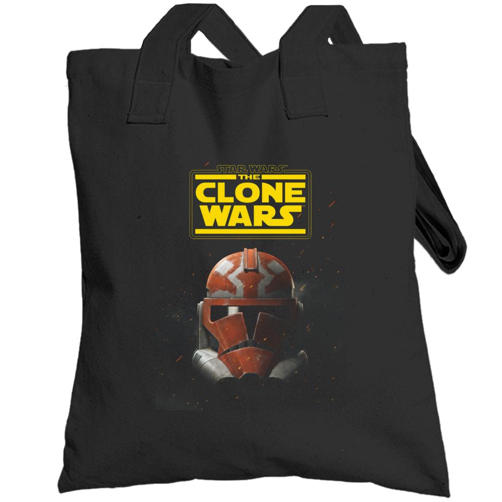 Star Wars Clone Wars Trooper Helmet Final Season Black Totebag