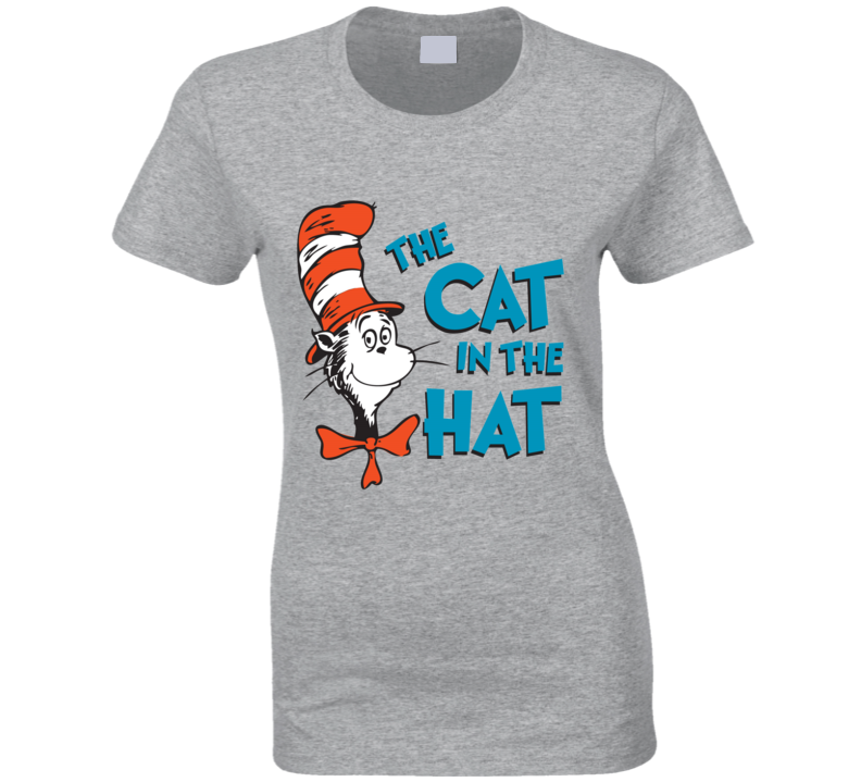 Cat In The Hat Logo Book Seuss Ladies T Shirt