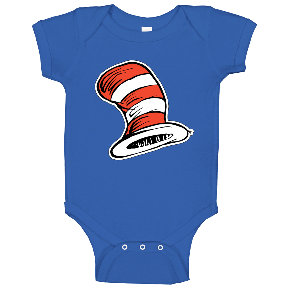 Cat In The Hat Art Red White Stripes Book Seuss Baby One Piece