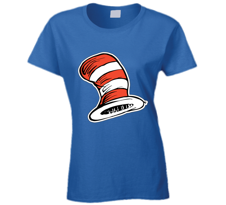 Cat In The Hat Art Red White Stripes Book Seuss Ladies T Shirt