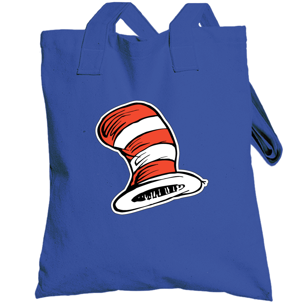 Cat In The Hat Art Red White Stripes Book Seuss Totebag
