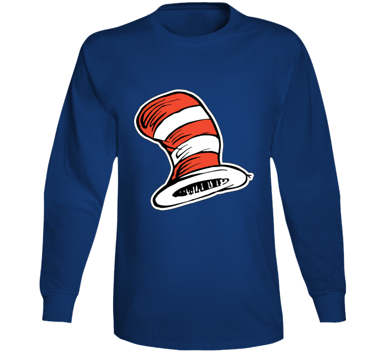 Cat In The Hat Art Red White Stripes Book Seuss Long Sleeve
