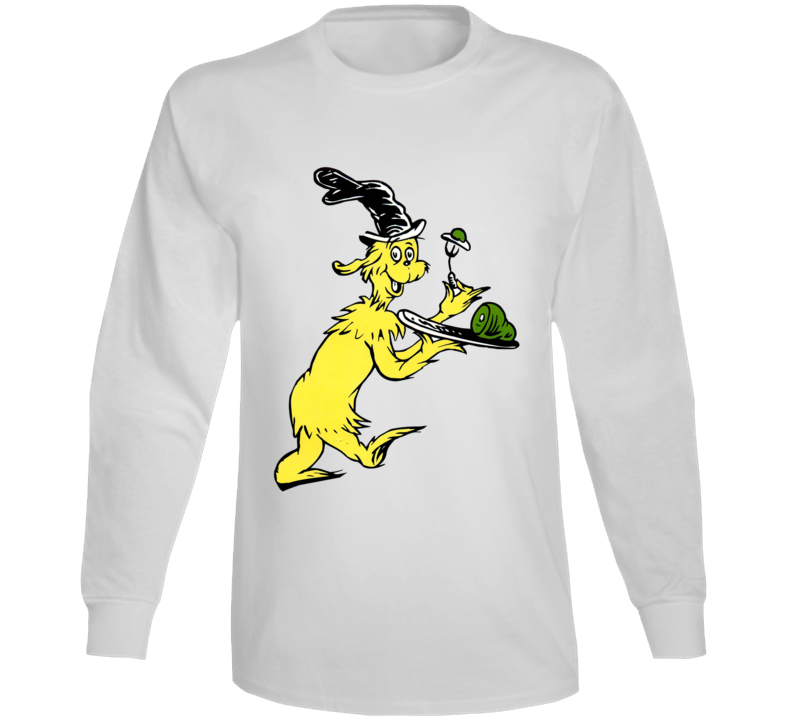Green Eggs Ham Guy Am I Seuss Book Cartoon Long Sleeve