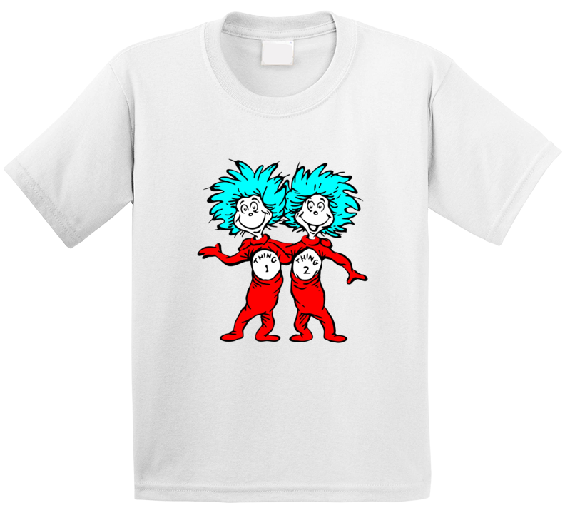 Cat In The Hat Things Thing 1 2 Seuss Book Cartoon T Shirt