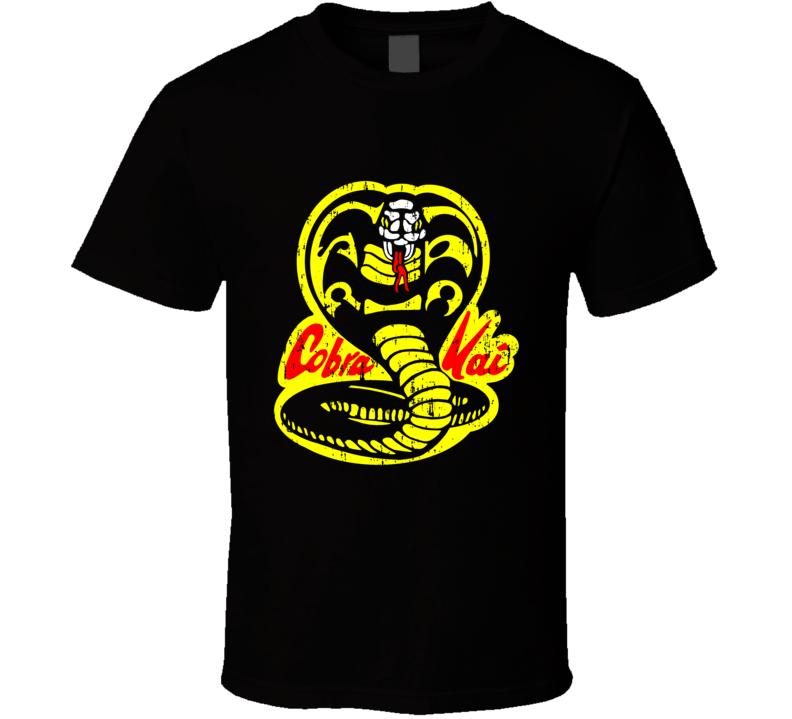 Cobra Kai Karate Kid Tv Show Movie Logo Aged T Shirt