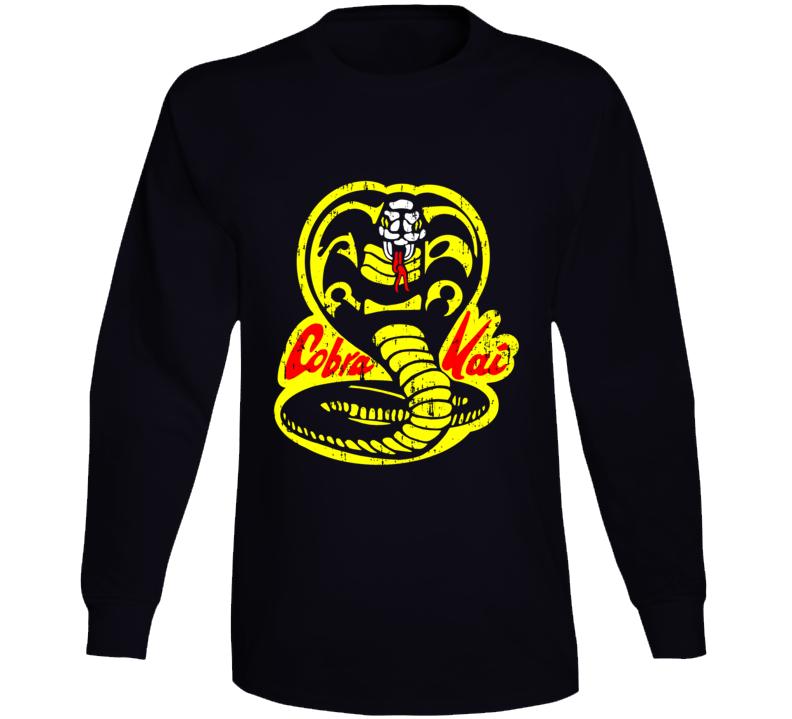 Cobra Kai Karate Kid Tv Show Movie Logo Aged Long Sleeve T Shirt